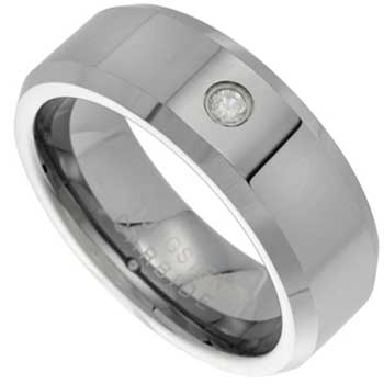 .10ct TCW  White Diamonds Tungsten  Diamond Unisex Comfort Fit Ring (8mm)