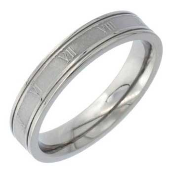 Titanium Numbers Personalized Unisex Comfort Fit Band (4.5mm)