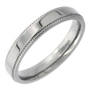 Titanium Milgrain Plain Unisex Comfort Fit Band (4mm)