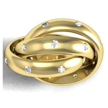 .24ct TCW  White Diamonds 14K Yellow Gold Rolling Trinity Unique Women's Comfort Fit Ring (3mm)