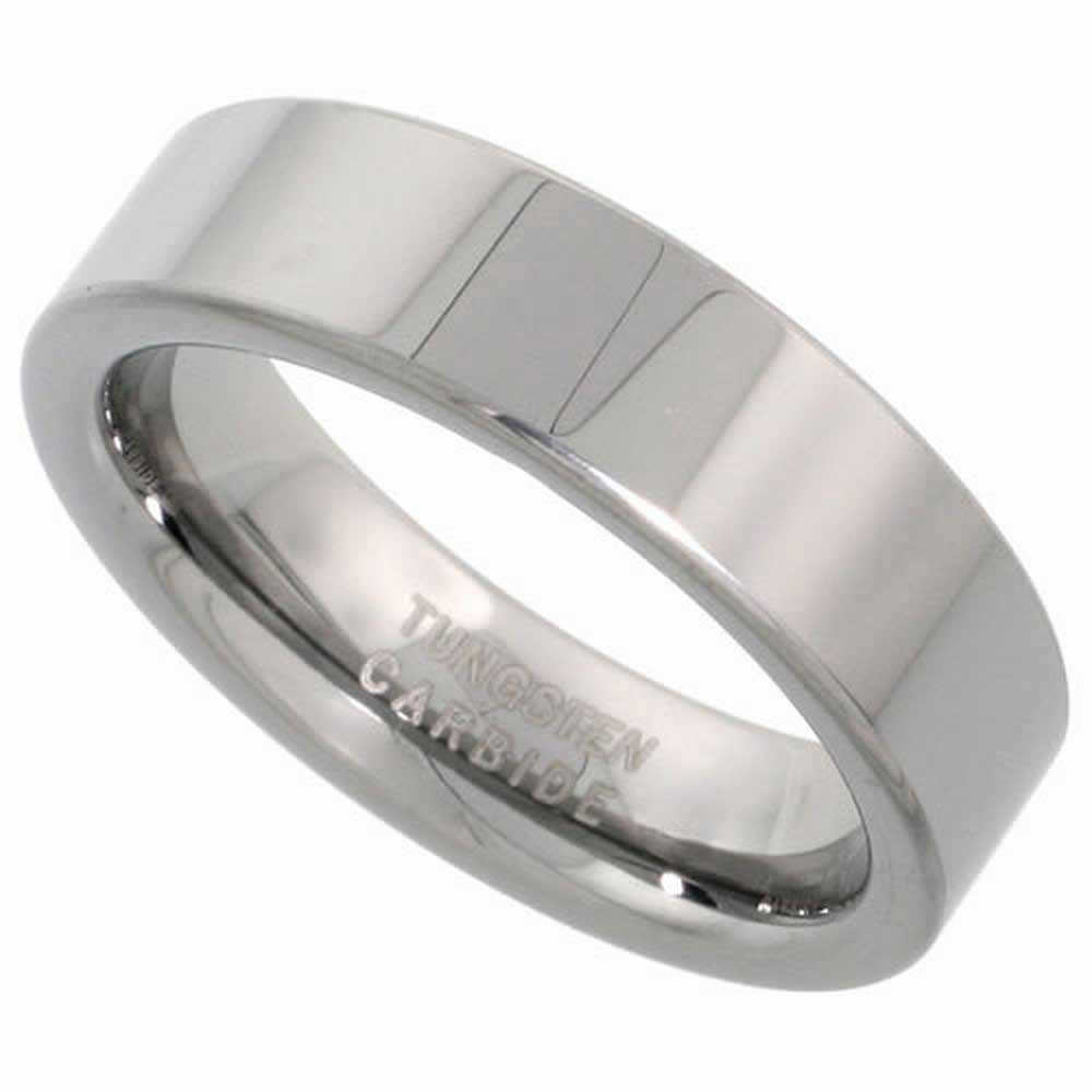 Tungsten Top Flat Plain Unisex Comfort Fit Band (6mm)