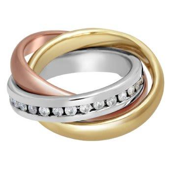 1.25ct TCW  White Diamonds 14K Tri Color Gold Rolling Trinity Unique Women's Comfort Fit Ring (4mm)