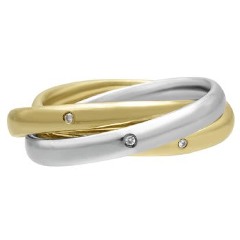 .12ct TCW  White Diamonds 14K Two Tone Gold Rolling Trinity Unique Women's Comfort Fit Ring (3mm)