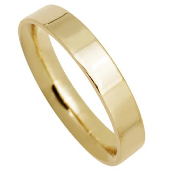 18K Yellow Gold Top Flat Plain Unisex Comfort Fit Band (4mm)