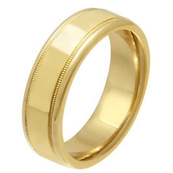 14K Yellow Gold Top Flat Plain Unisex Comfort Fit Band (6.5mm)