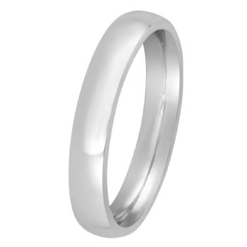 14K White Gold Dome Plain Unisex Comfort Fit Band (3mm)