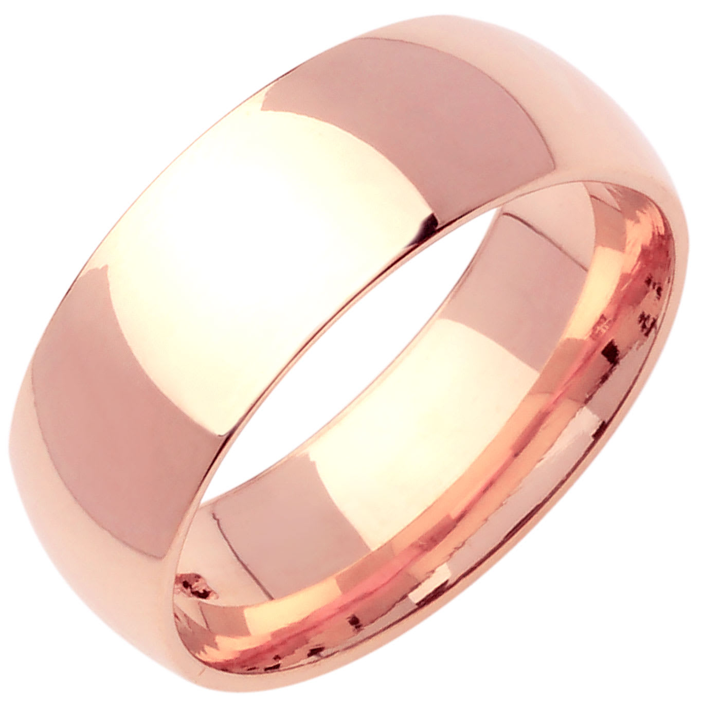14K Rose Gold Dome Plain Unisex Comfort Fit Band (9mm)