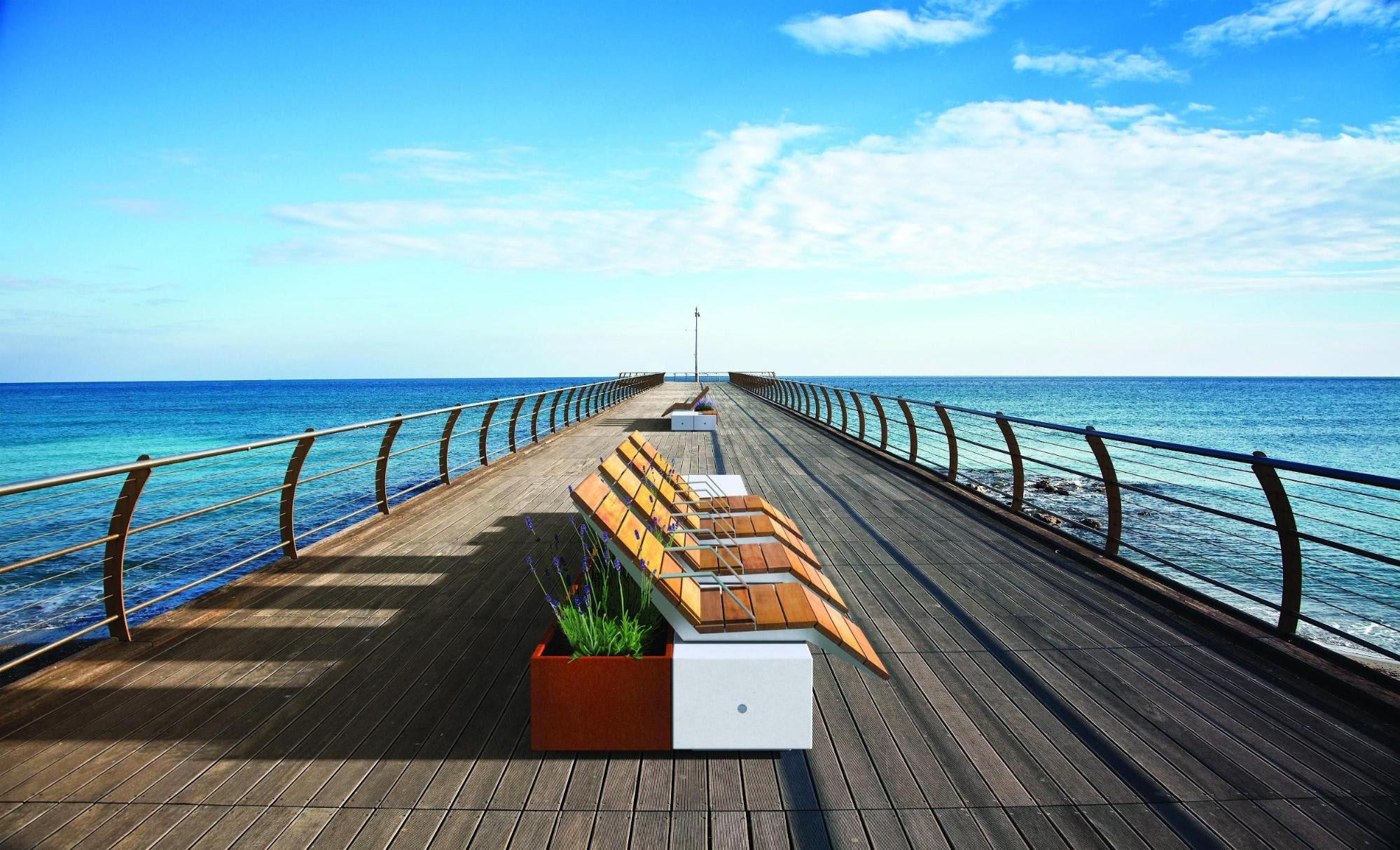 modern outdoor seating on pier