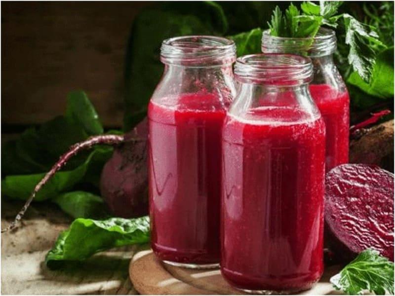 beet juice in bottles