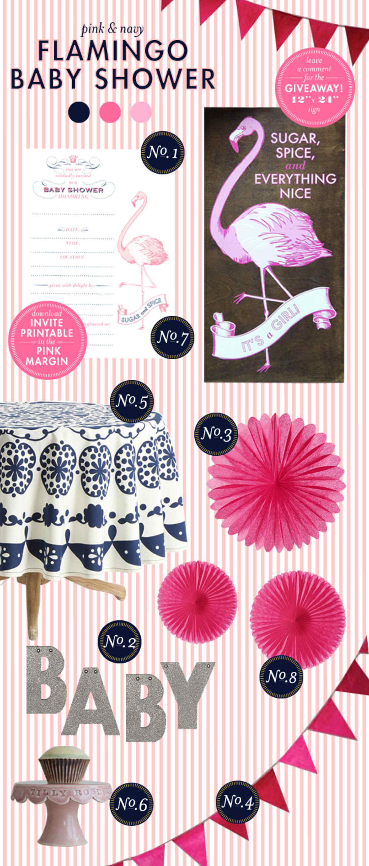 Pink And Navy Baby Shower Ideas