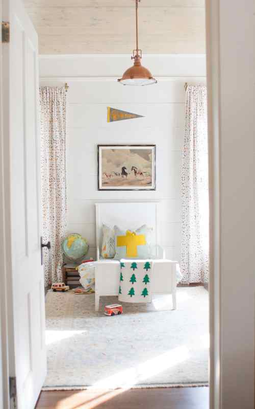 bright and rustic little boy room