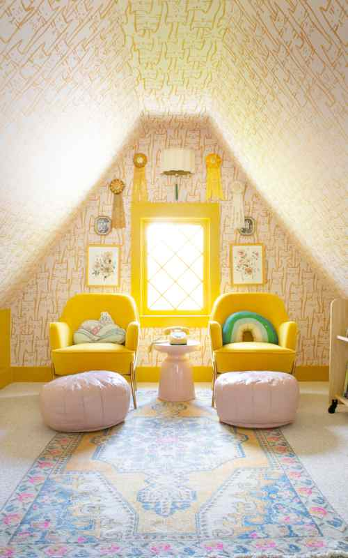 A Cozy Yellow Reading Nook in a Shared Room for Three Girls