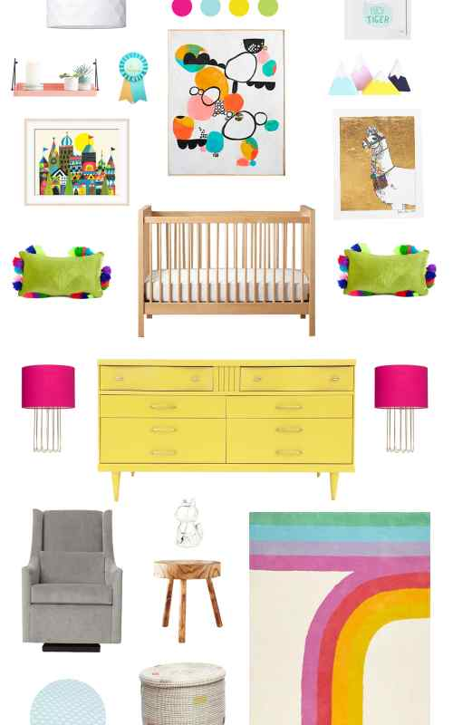 a rainbow hued baby room