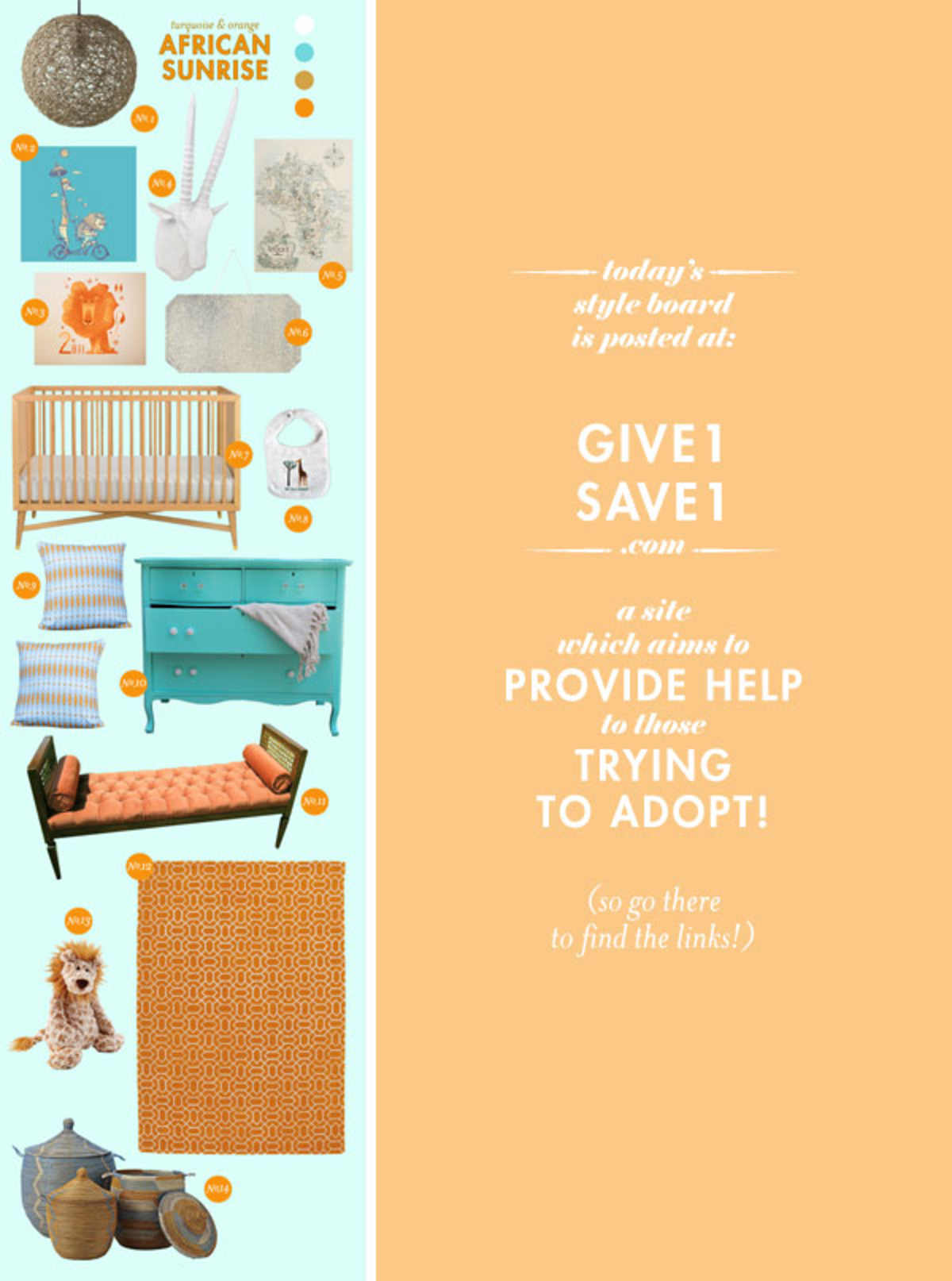 orange and aqua baby nursery ideas