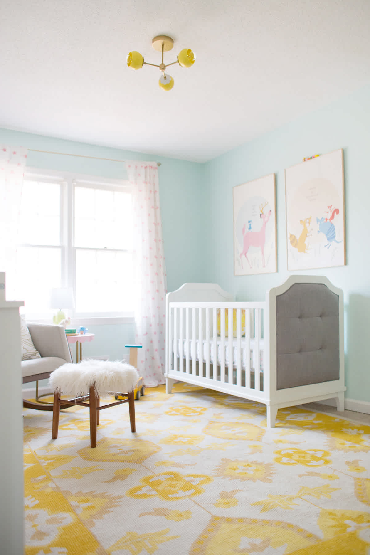 yellow and blue baby room inspiration