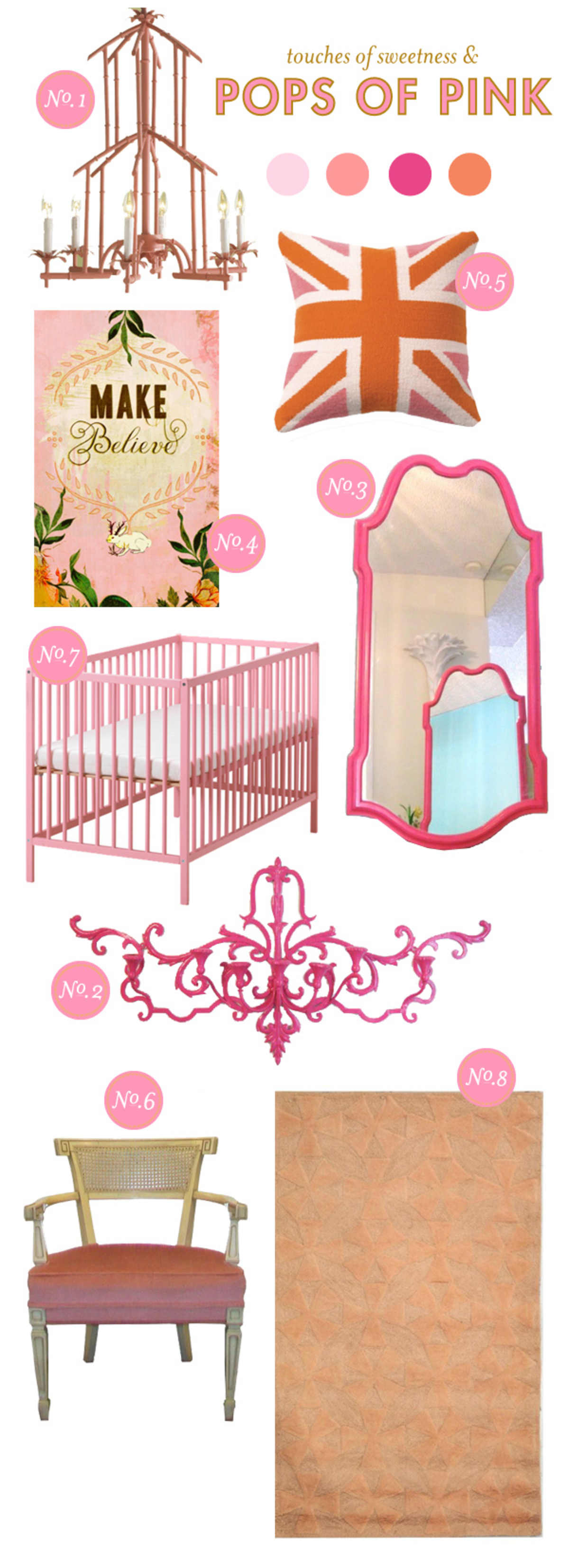 baby girl nursery inspiration; nursery inspiration board