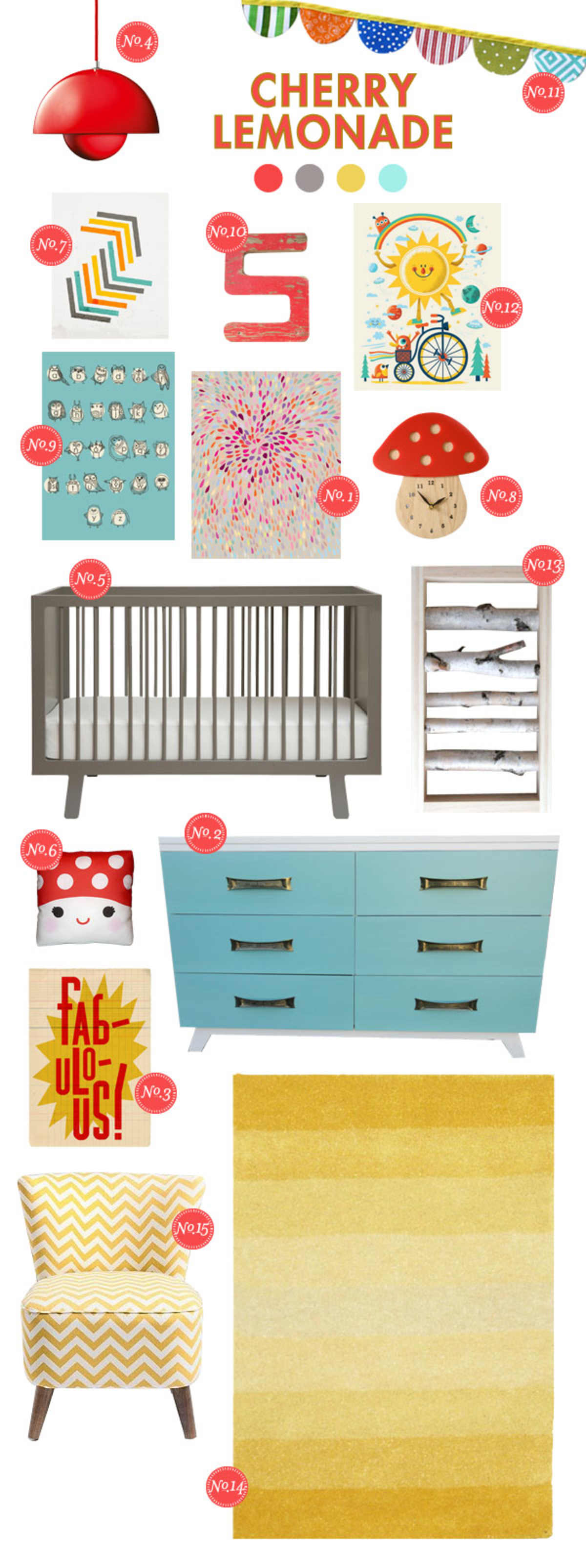 cherry lemonade bright baby room ideas