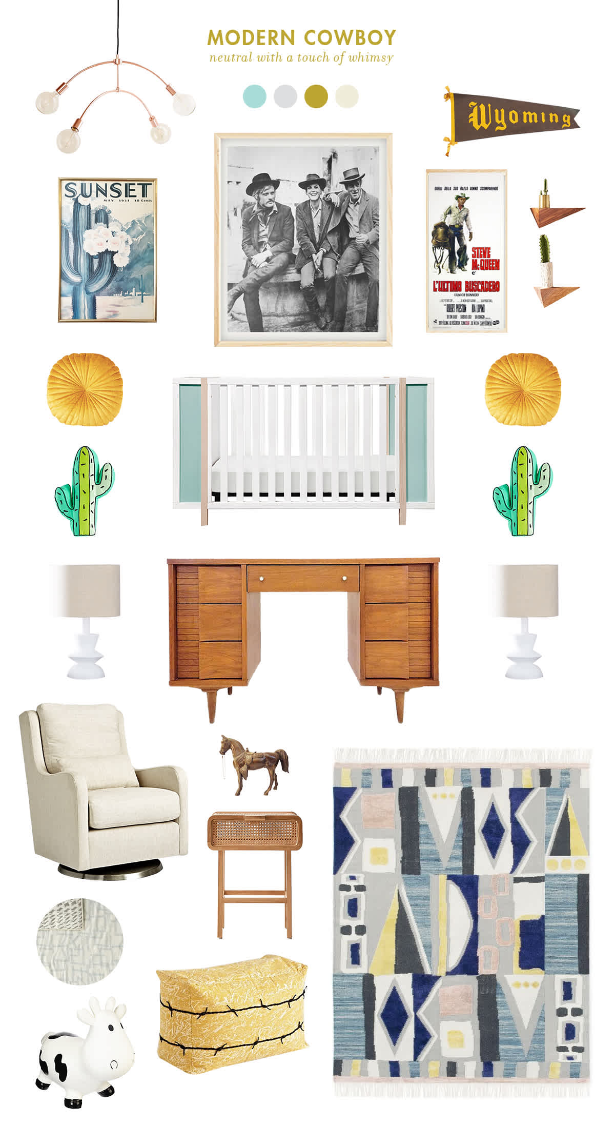 neutral modern cowboy baby room ideas