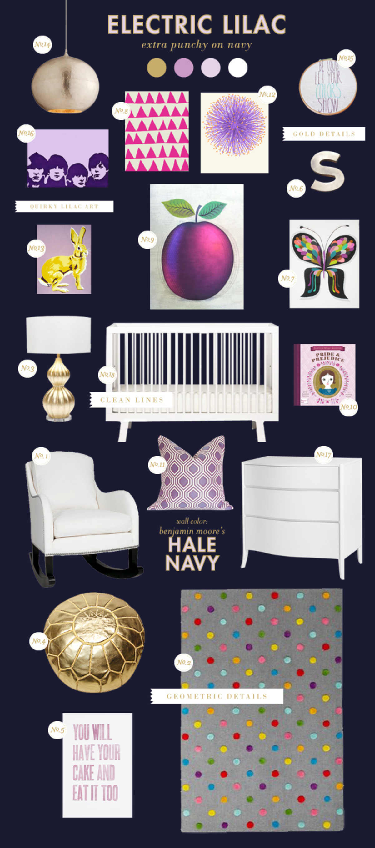 purple and navy baby room ideas