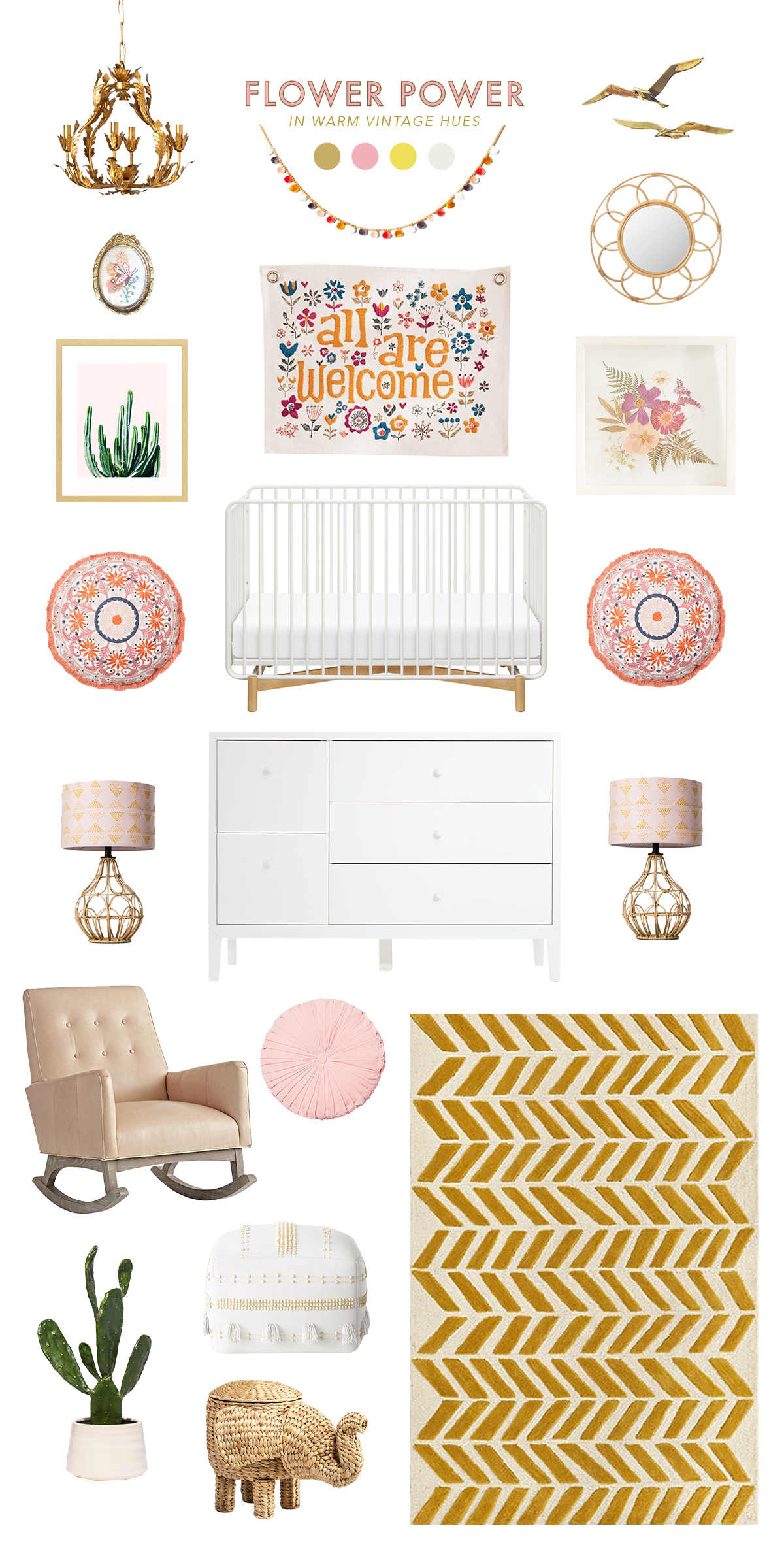 pink and gold baby room ideas