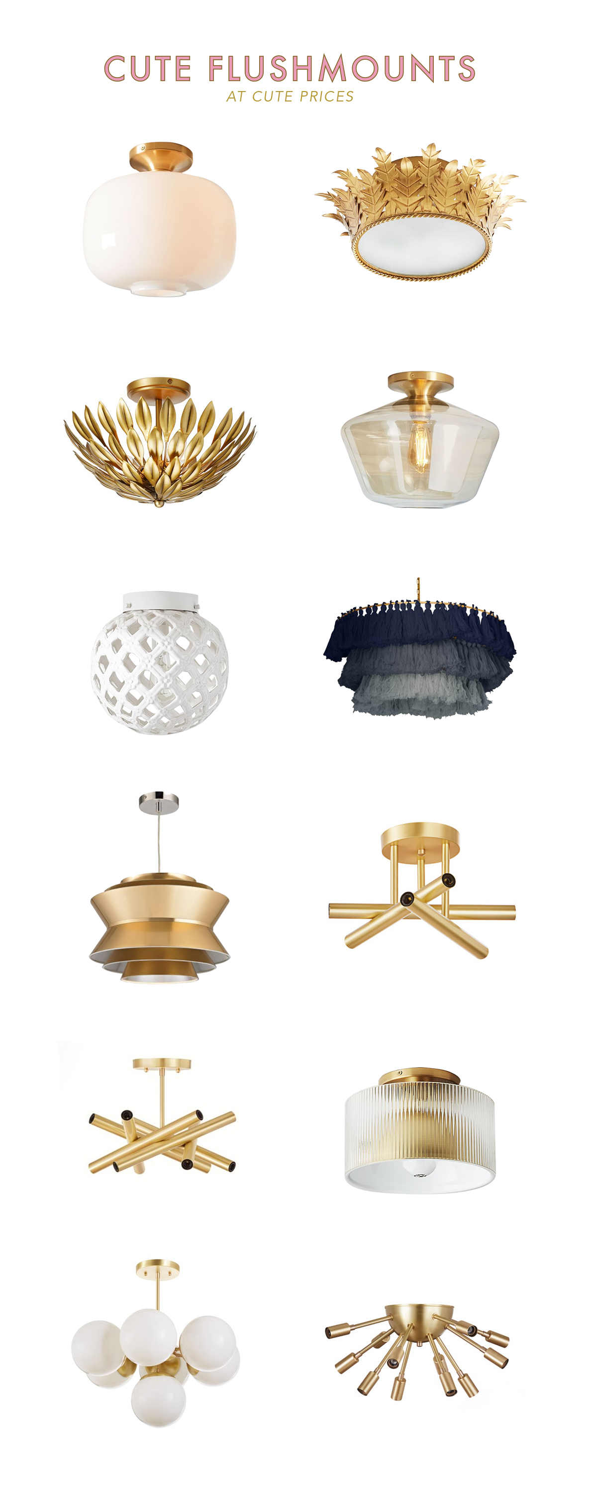 pretty and affordable flush mount lights