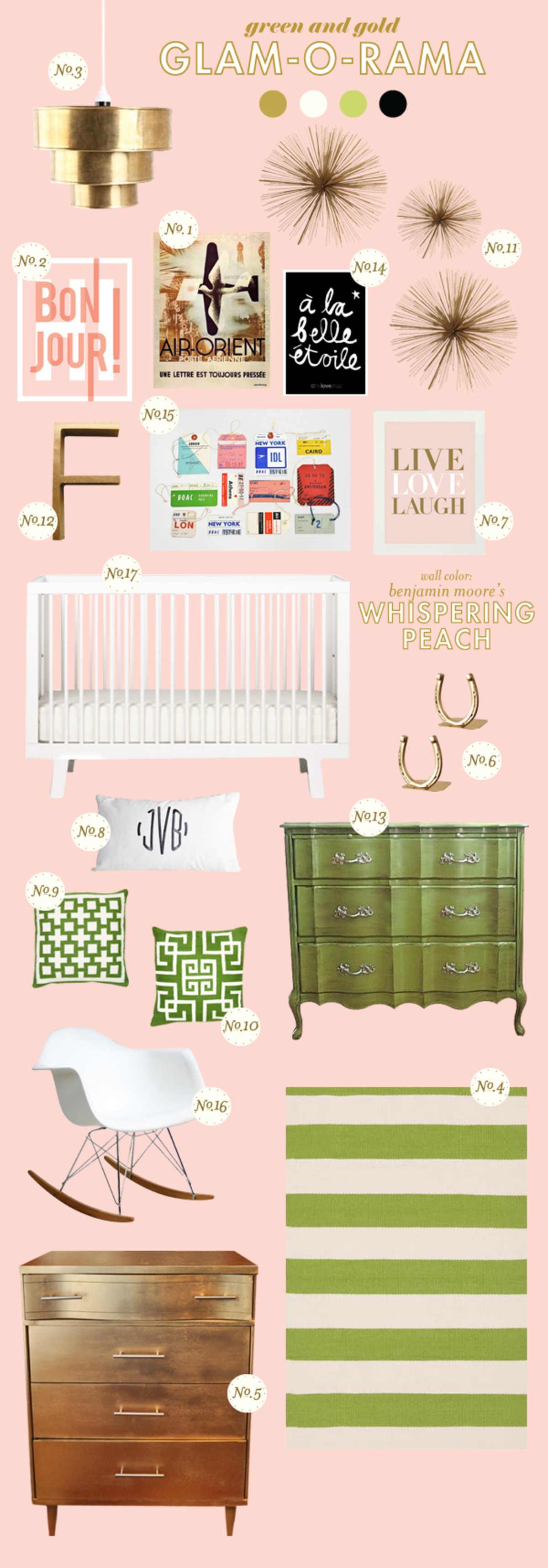 peach green gold baby girl room ideas