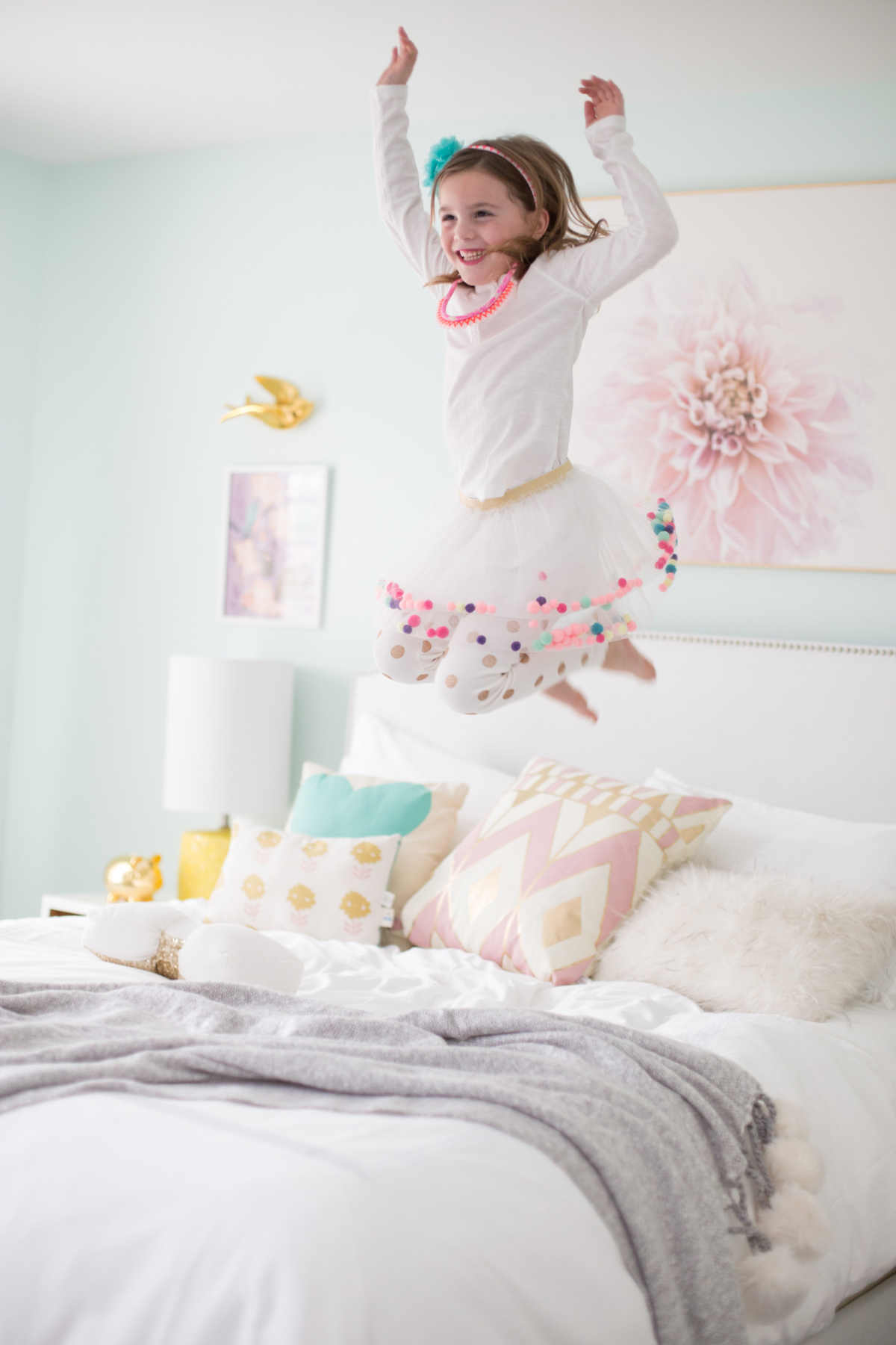 Blue And Yellow Little Girl Room Lay Baby