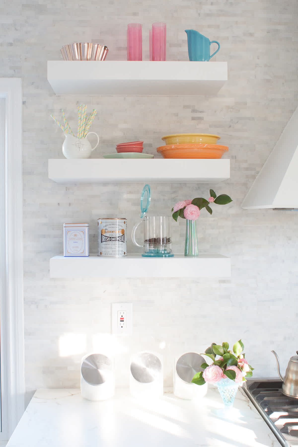How To Organize Open Shelving In A Kitchen - Lay Baby Lay