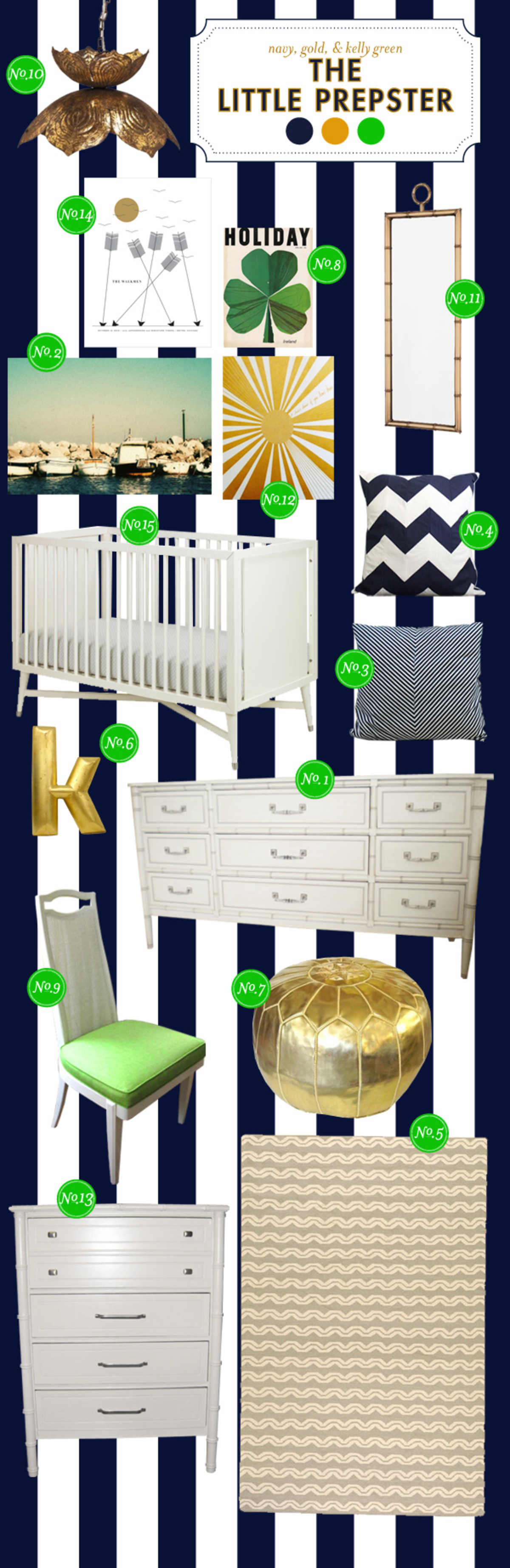 navy white and gold baby nursery ideas