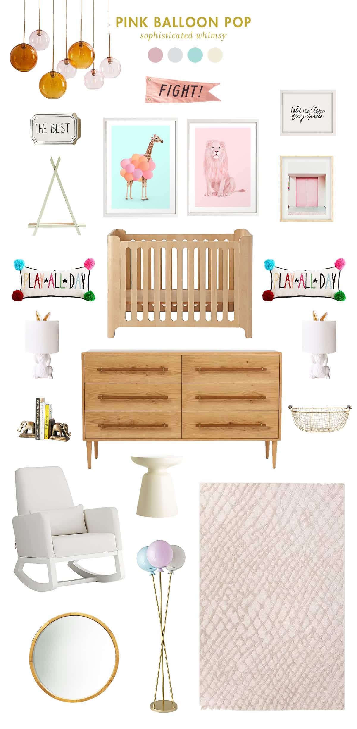 pink and blue baby room inspiration