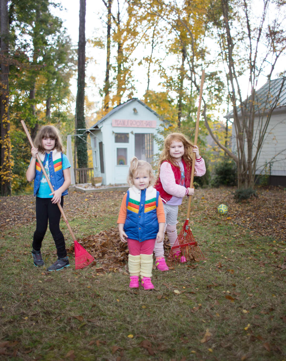 raking leaves with kids