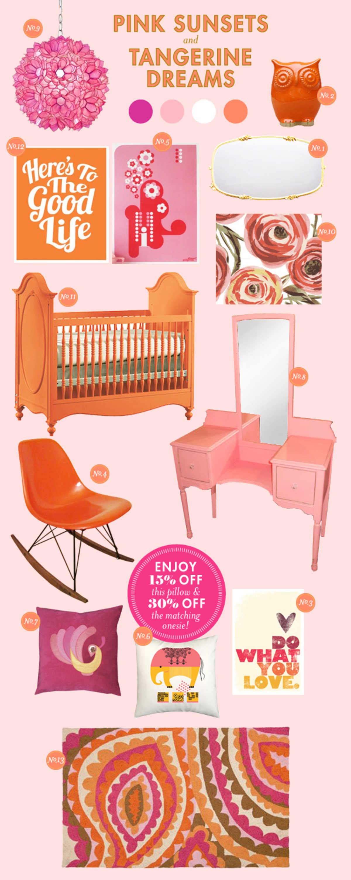pink and orange baby nursery ideas