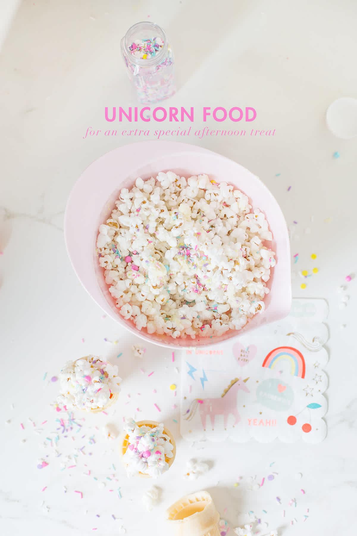 unicorn food sprinkle popcorn