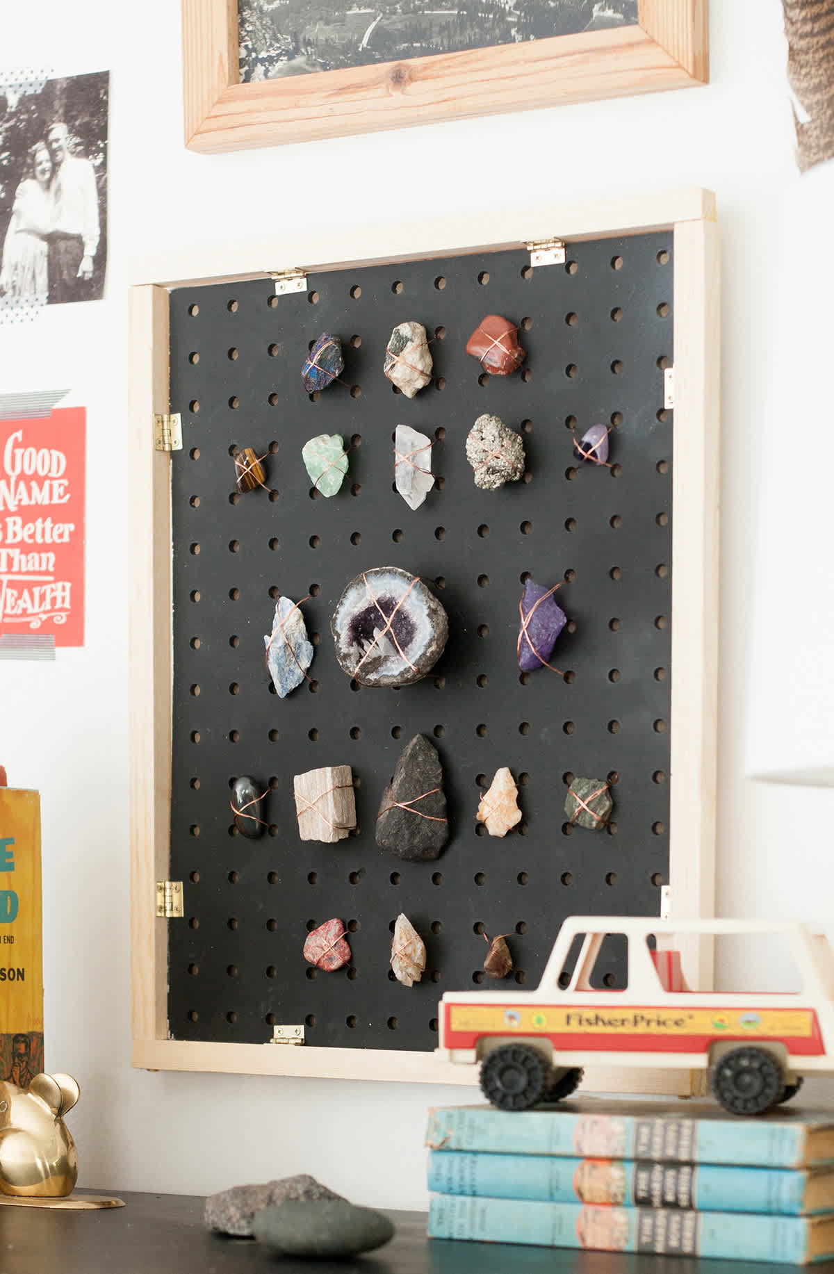 DIY rock collection display