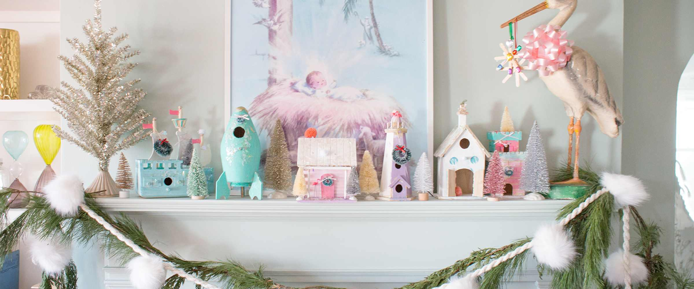 Vintage Christmas Art for over the Mantel