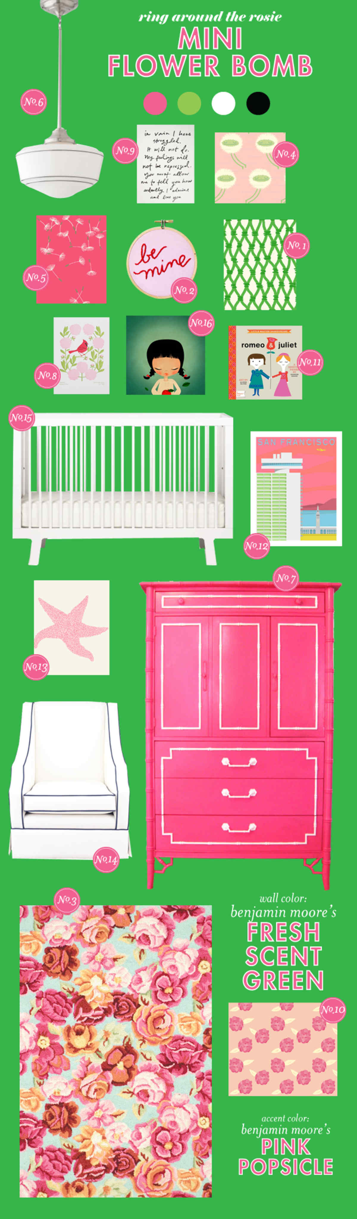 pink and green baby girl room ideas