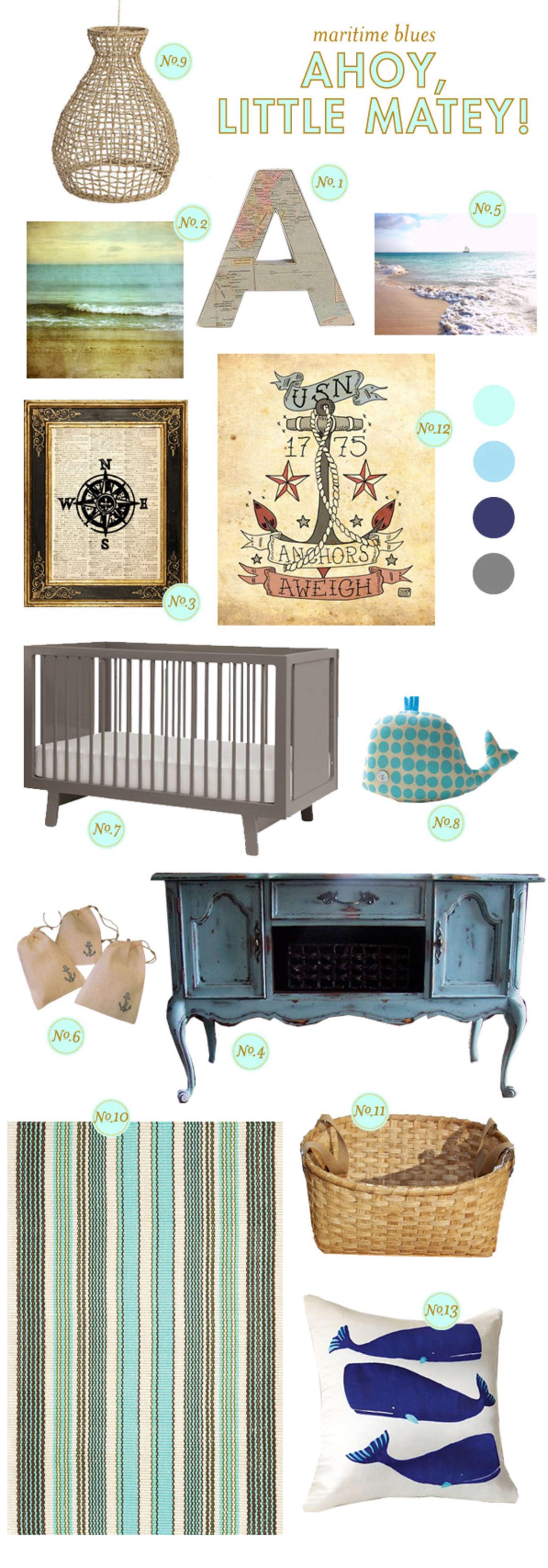 ocean baby nursery inspiration, beach baby nursery inspiration