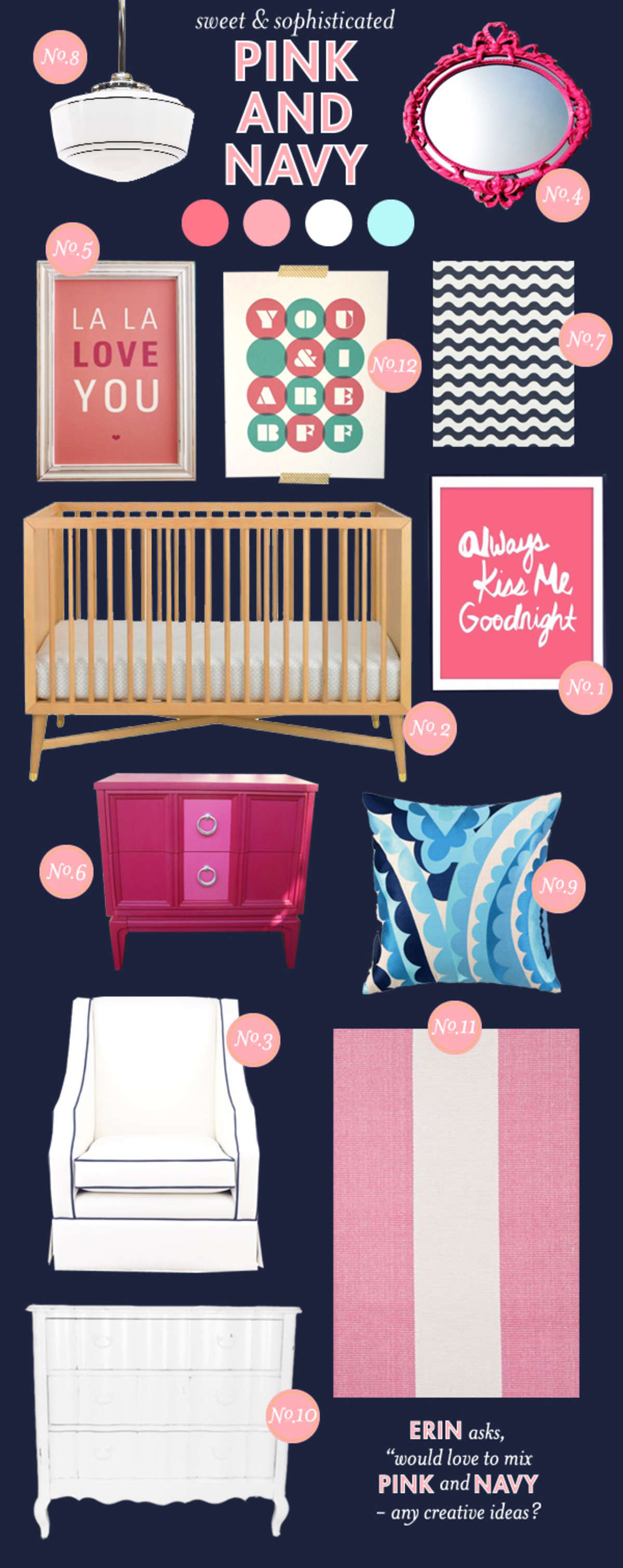 pink & navy girl nursery inspiration