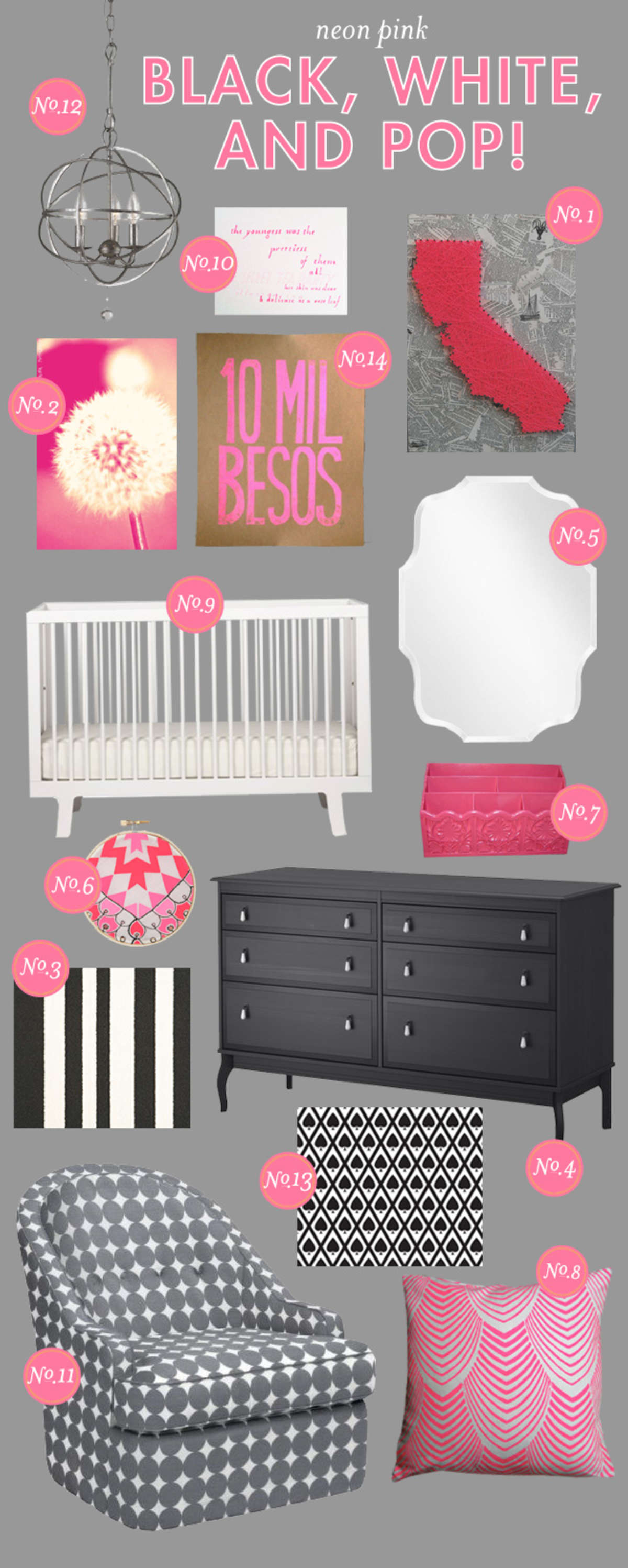 black white and pink nursery inspiration board