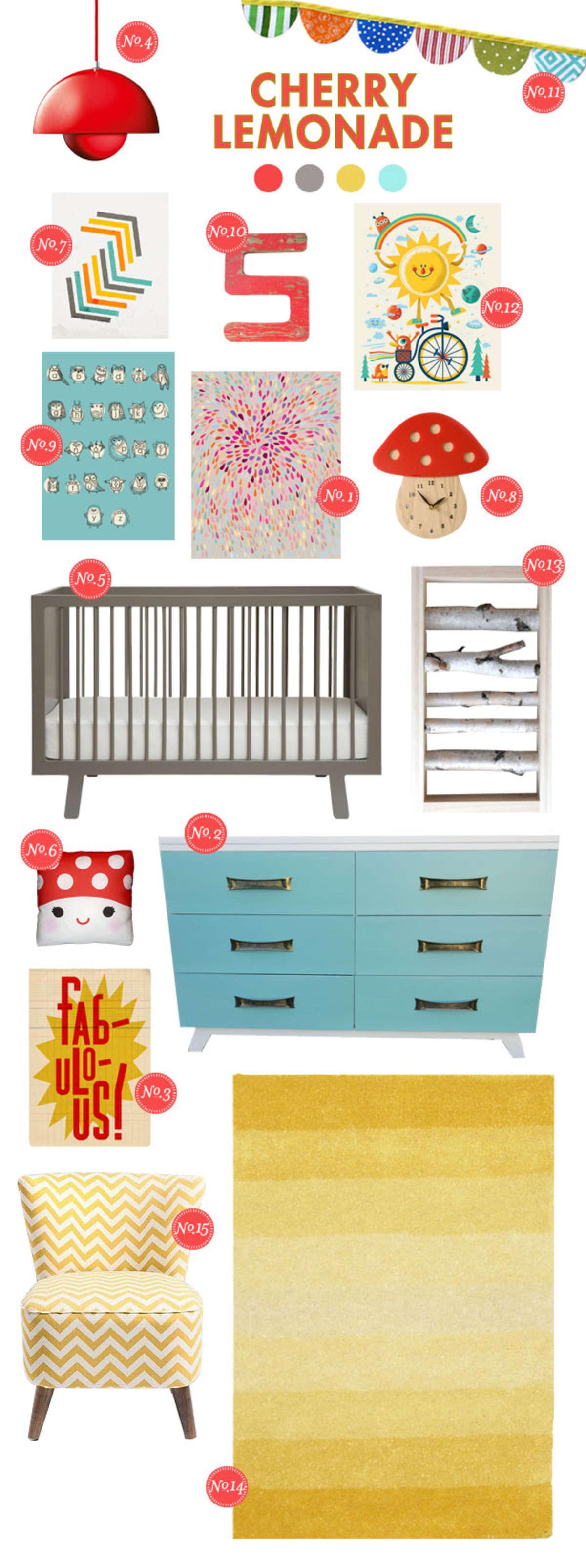 cherry lemonade bright baby room ideas