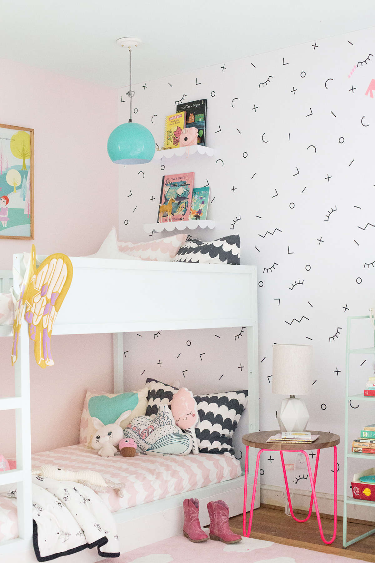 shared girls' room with bunk beds