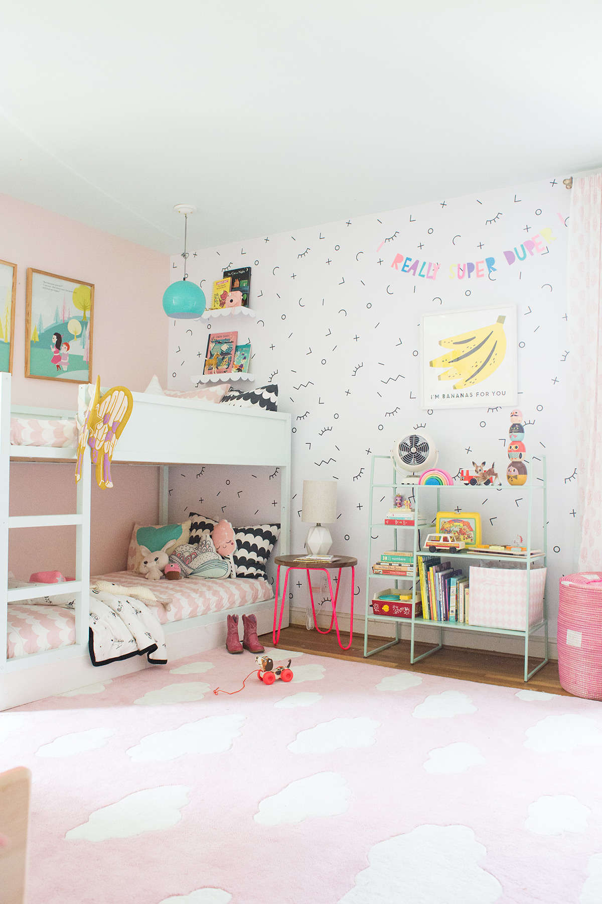 A shared bedroom with bunk beds lay baby lay lay baby lay for Children bedroom designs girls