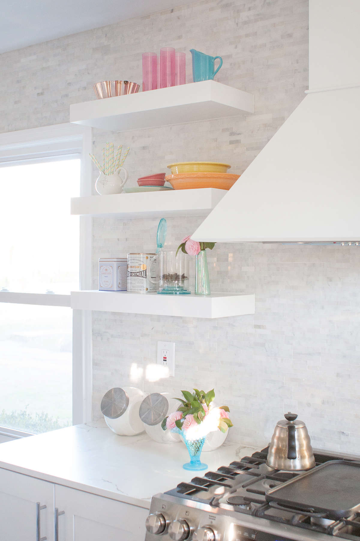 how to organize open shelving in a kitchen | Lay Baby Lay