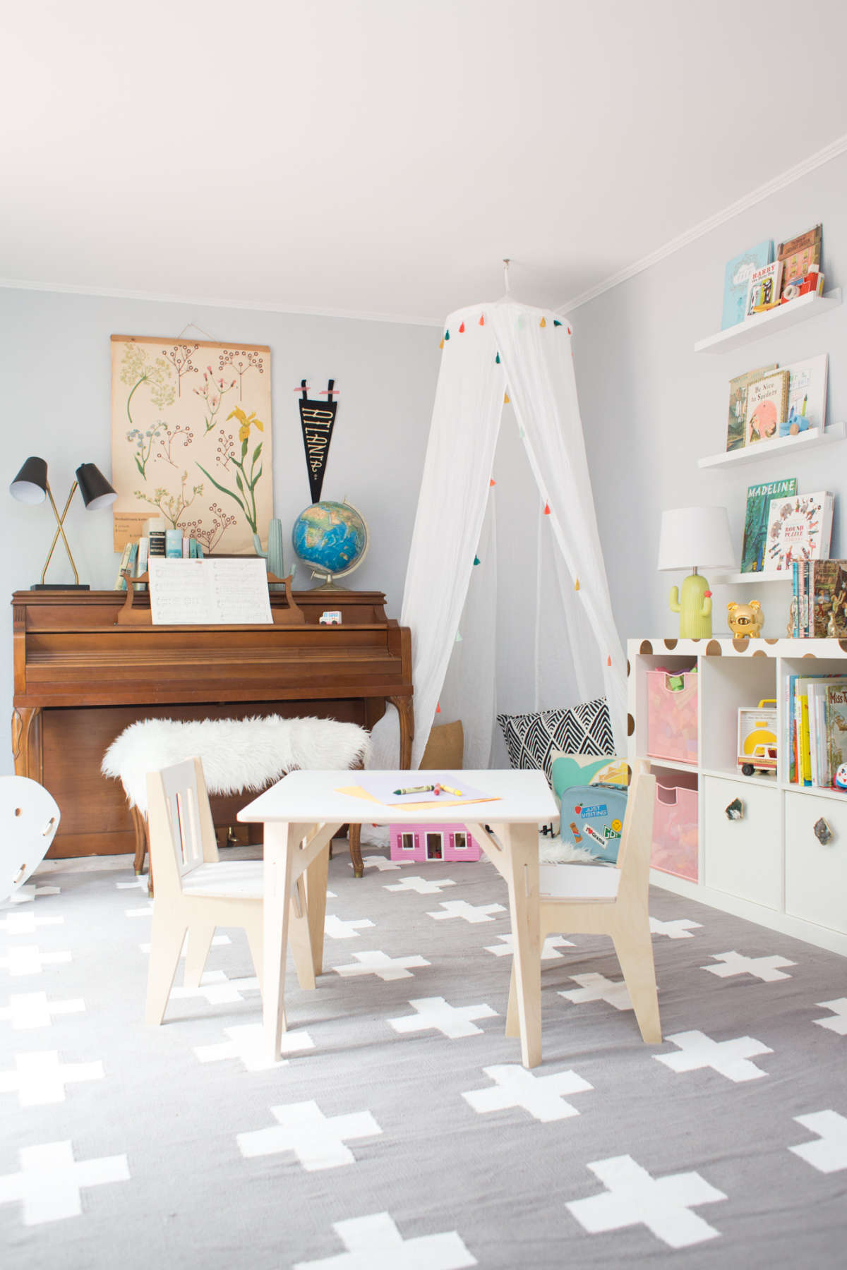 neutral shared playroom inspiration