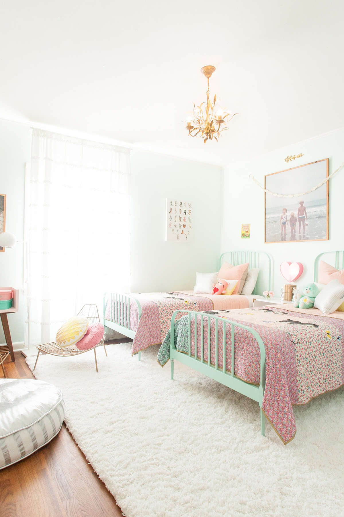 These twin panel beds for girls look classy and cool painted mint green - and imagine how easy they will be to repaint if color tastes change!