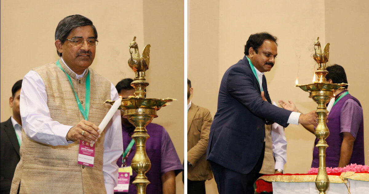 Lamp lighting by Mr. L.V. Subramanyam, Spl Chief Secretary, Sports and Youth Affairs, AP and Mr. Sreedhar Cherukuri, Commissioner, APCRDA
