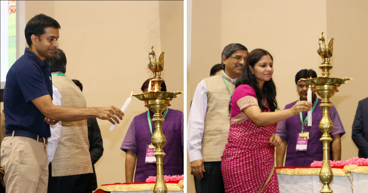 Lamp lighting by P. Gopichand, chief coach, Indian badminton team and Ms. Bhavna Saxena, IPS, OSD, Economic Development Board, GoAP