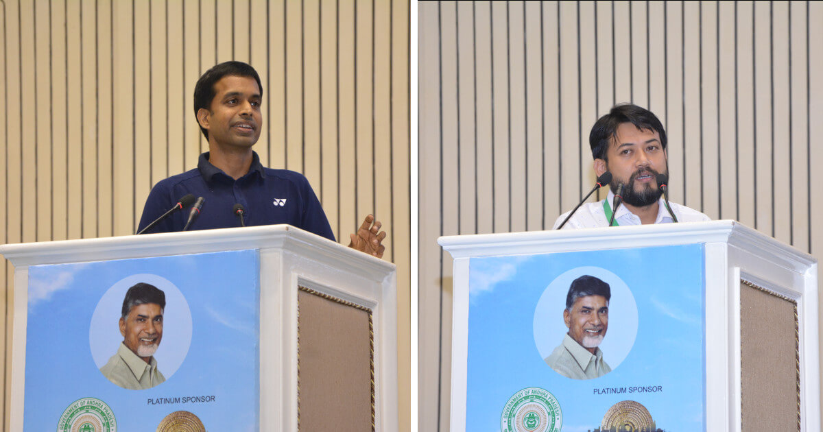 Indian badminton team's chief coach Pullela Gopichand, Mr. Kishore Taid, Co-founder CEO, Bhaichung Bhutia Football Schools, and Founding Trustee, Indian Football Foundation