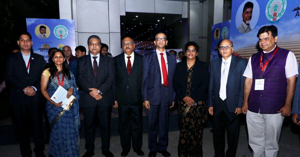 L-R: Vikas Sharma, Bhavana Saxena, Justice Vineet Saran, Justice Mohan Shantanagoudar, Justice N. V. Ramana, Justice Pratibha Singh, Justice S. Ravindra Bhat, and Praveen Prakash