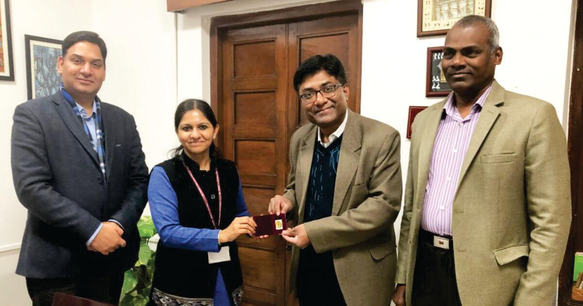 Mr. Prashant Kumar Sharma (Director) BCS & Mr. Vetri Vel (Country Representative-HOME GMBH) with Ms. Bhavna Saxena (IPS) Special Commissioner APEDB, Mr. Vikas Sharma, Director & Chief executive, CSL.